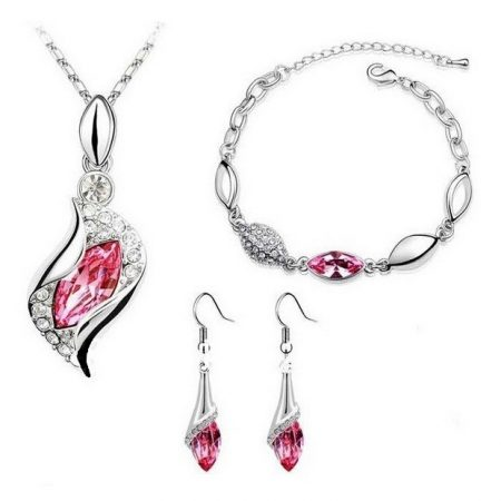 Fehérarannyal bevont 3 részes ékszerszett rózsaszín kristályokkal + AJÁNDÉK DÍSZDOBOZ (0818.)