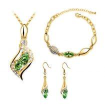 Arannyal bevont 3 részes ékszerszett zöld kristályokkal + AJÁNDÉK DÍSZDOBOZ (0368.)