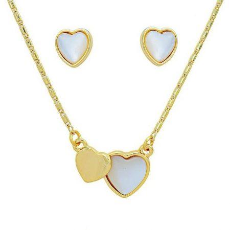 Arannyal bevont páros szív ékszerszett macskaszem opálokkal + AJÁNDÉK DÍSZDOBOZ (0971.)