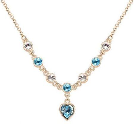 Arannyal bevont szíves nyaklánc áttetsző és türkizkék ausztriai kristályokkal + AJÁNDÉK DÍSZDOBOZ (0686.)
