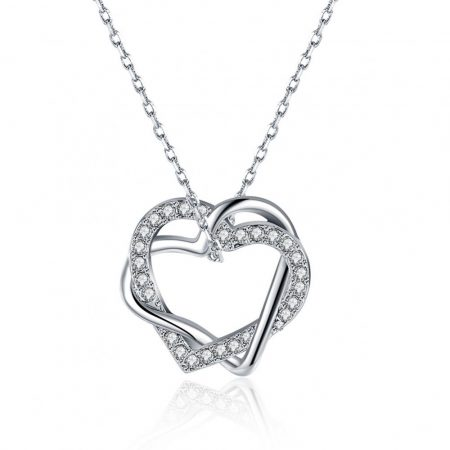 Platinával bevont nyaklánc egymásba fonódó szívekkel, egyedi kristályokkal + AJÁNDÉK DÍSZDOBOZ (1086.)