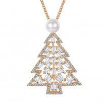 Rózsaarannyal bevont nagy karácsonyfa nyaklánc CZ kristályokkal + AJÁNDÉK DÍSZDOBOZ (0515.)
