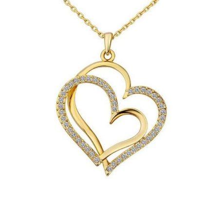 Dupla szíves nyaklánc arany bevonattal, ausztriai kristályokkal + AJÁNDÉK DÍSZDOBOZ (0446.)