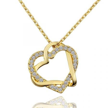 Egymásba fonódó szív nyaklánc egyedi kristályokkal, arany bevonattal + AJÁNDÉK DÍSZDOBOZ (0503.)