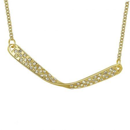 Arannyal bevont modern nyaklánc áttetsző egyedi kristályokkal + AJÁNDÉK DÍSZDOBOZ (0360.)