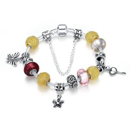 Platinával és arannyal bevont pillangós charm karkötő üveggyöngyökkel + AJÁNDÉK DÍSZDOBOZ (0684.)
