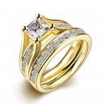 Arannyal bevont klasszikus női karikagyűrű és kísérőgyűrű szett #7 + AJÁNDÉK DÍSZDOBOZ (0298.)