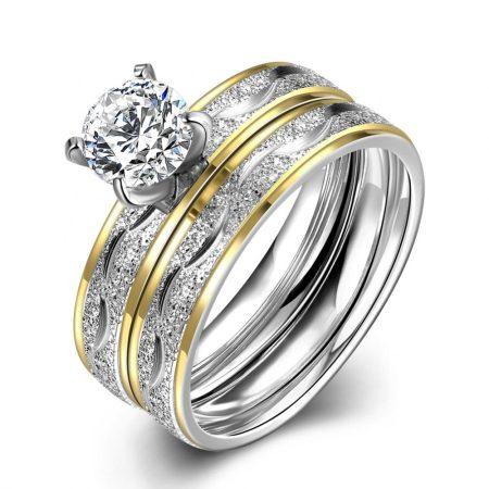 Csillámló női karikagyűrű és kísérőgyűrű szett CZ kristállyal #6 + AJÁNDÉK DÍSZDOBOZ (0884.)