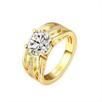 Arannyal bevont gyűrű CZ kristályos díszítéssel #8 + AJÁNDÉK DÍSZDOBOZ (0377.)