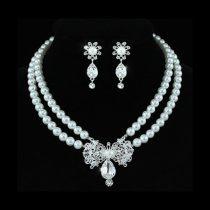 Fehérarannyal bevont esküvői/alkalmi ékszerszett szimulált gyöngyökkel, ausztriai kristályos díszítéssel + AJÁNDÉK DÍSZDOBOZ (0058.)