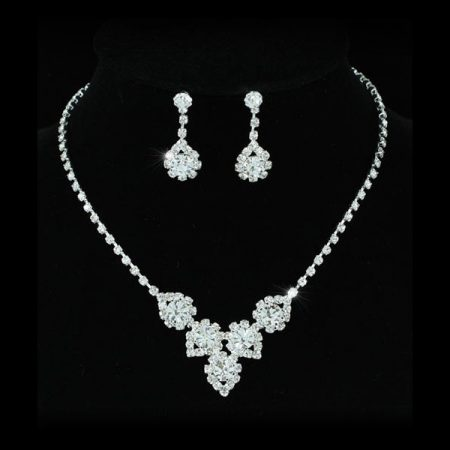 Fehérarannyal bevont esküvői/alkalmi ékszerszett ausztriai kristályos díszítéssel + AJÁNDÉK DÍSZDOBOZ (0080.)