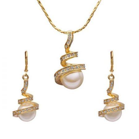 Arannyal bevont spirálos gyöngyös ékszerszett áttetsző CZ kristályokkal + AJÁNDÉK DÍSZDOBOZ (1150.)