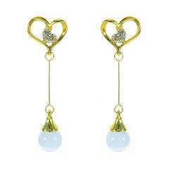 Arannyal bevont függő szív fülbevaló macskaszem opálokkal + AJÁNDÉK DÍSZDOBOZ (0655.)