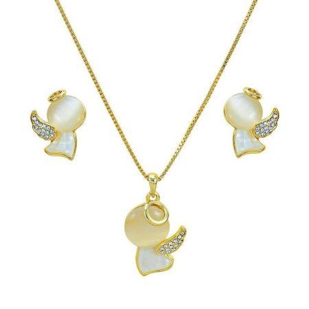 Arannyal bevont angyal ékszerszett macskaszem opálokkal, ausztriai kristályokkal + AJÁNDÉK DÍSZDOBOZ (0268.)