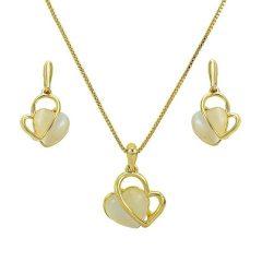 Arannyal bevont modern szív ékszerszett macskaszem opálokkal + AJÁNDÉK DÍSZDOBOZ (0224.)