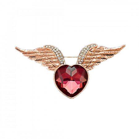 Rózsaarannyal bevont szárnyas szív bross ausztriai kristályokkal + AJÁNDÉK DÍSZDOBOZ (0172.)