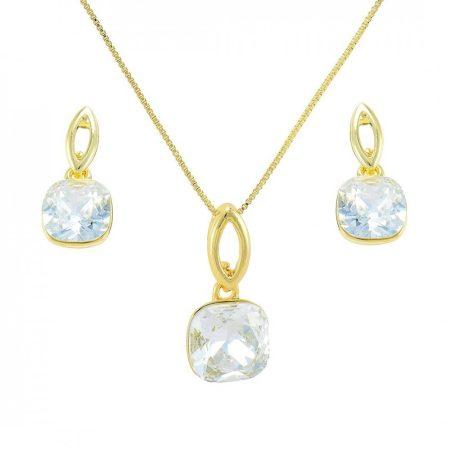 Arannyal bevont négyzetes ékszerszett áttetsző ausztriai kristályokkal + AJÁNDÉK DÍSZDOBOZ (0822.)