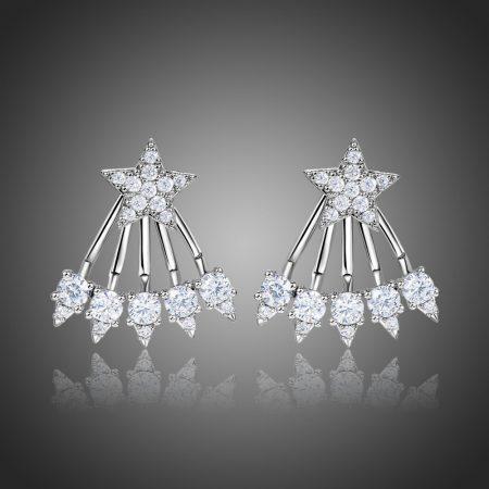 Fehérarannyal bevont különleges csillag fülbevaló CZ kristályokkal + AJÁNDÉK DÍSZDOBOZ (0088.)