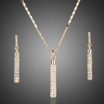 Arannyal bevont függő medálos ékszerszett áttetsző stellux ausztriai kristályokkal  + AJÁNDÉK DÍSZDOBOZ (1375.)