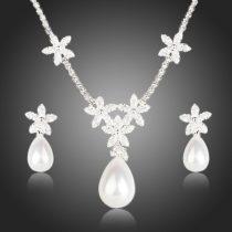 Alkalmi virágos szett minőségi CZ kristályokkal + AJÁNDÉK DÍSZDOBOZ (0404.)