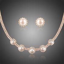 Arannyal bevont exkluzív ékszerszett CZ kristályokkal és szimulált gyöngyökkel + AJÁNDÉK DÍSZDOBOZ (0888.)