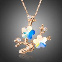 Rózsaarannyal bevont virág nyaklánc színjátszó stellux ausztriai kristályokkal + AJÁNDÉK DÍSZDOBOZ (0129.)