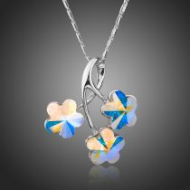 Ródiummal bevont virág nyaklánc színjátszó stellux ausztriai kristályokkal + AJÁNDÉK DÍSZDOBOZ (0011.)