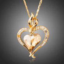 Arannyal bevont szív nyaklánc pezsgőszínű stellux ausztriai kristállyal + AJÁNDÉK DÍSZDOBOZ (0568.)
