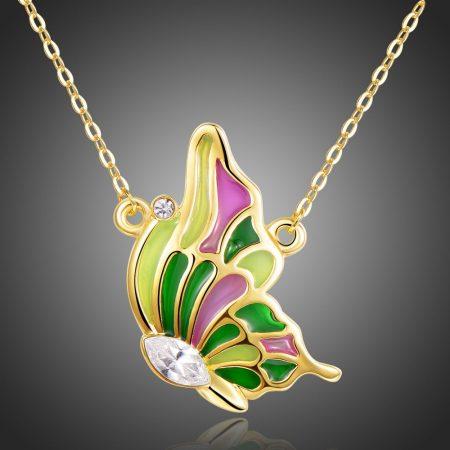 Arannyal bevont zöld és rózsaszín pillangó nyaklánc ausztriai kristályokkal + AJÁNDÉK DÍSZDOBOZ (0901.)