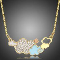 Arannyal bevont felhő nyaklánc stellux ausztriai kristályokkal + AJÁNDÉK DÍSZDOBOZ (0898.)