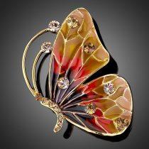 Arannyal bevont pillangó bross ausztriai kristályokkal + AJÁNDÉK DÍSZDOBOZ (1271.)