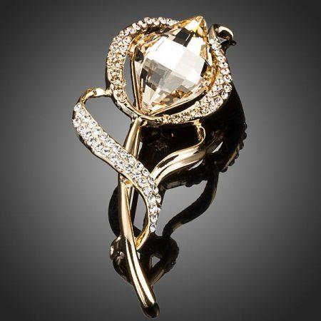 18k arannyal bevont virágszál bross stellux ausztriai kristályokkal + AJÁNDÉK DÍSZDOBOZ (0116.)