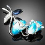 Fehérarannyal bevont kék harangvirág bross CZ kristályokkal + AJÁNDÉK DÍSZDOBOZ (0479.)