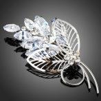 Fehérarannyal bevont virágcsokor bross áttetsző CZ kristályokkal + AJÁNDÉK DÍSZDOBOZ (0925.)