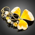 Arannyal bevont sárga olajfestéses virág bross ausztriai kristályokkal + AJÁNDÉK DÍSZDOBOZ (0631.)