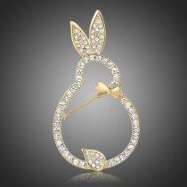 Arannyal bevont nyuszi bross stellux ausztriai kristályokkal + AJÁNDÉK DÍSZDOBOZ (0885.)