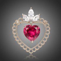 Antikolt fehérarannyal bevont szív bross piros és áttetsző ausztriai kristályokkal + AJÁNDÉK DÍSZDOBOZ (0676.)