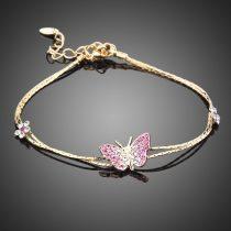 Arannyal bevont pillangós karlánc ausztriai kristályokkal + AJÁNDÉK DÍSZDOBOZ (0712.)
