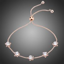 Rózsaarannyal bevont csillagos karkötő áttetsző CZ kristályokkal + AJÁNDÉK DÍSZDOBOZ (0767.)