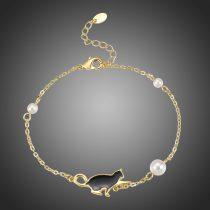 Arannyal bevont fekete cicás karkötő szimulált gyöngyökkel + AJÁNDÉK DÍSZDOBOZ (0939.)