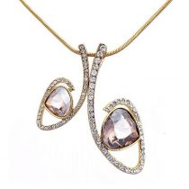 Arannyal bevont modern nyaklánc pezsgőszínű Swarovski kristályokkal + AJÁNDÉK DÍSZDOBOZ (0829.)