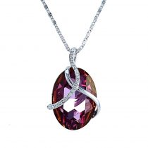 Platinával bevont ovális nyaklánc bíbor ausztriai kristályokkal + AJÁNDÉK DÍSZDOBOZ (0636.)
