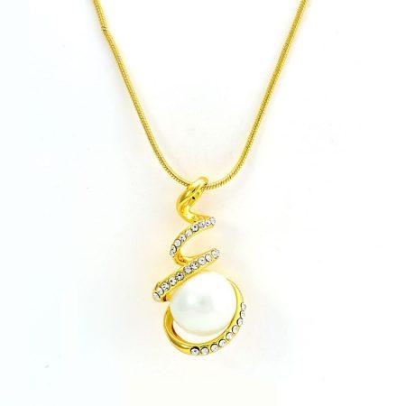 Arannyal bevont csavart nyaklánc velencei gyönggyel, ausztriai kristályokkal + AJÁNDÉK DÍSZDOBOZ (0189.)