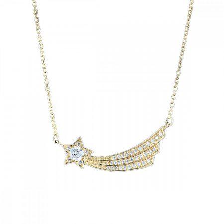 Arannyal bevont hullócsillag nyaklánc áttetsző CZ kristályokkal + AJÁNDÉK DÍSZDOBOZ (0339.)