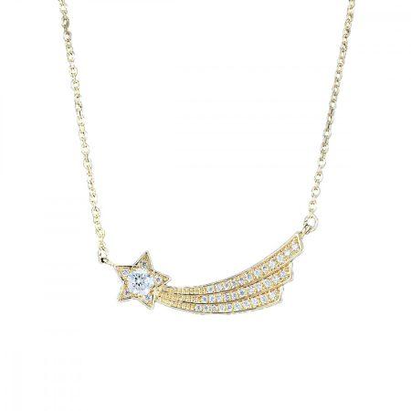 Arannyal bevont hullócsillag nyaklánc áttetsző CZ kristályokkal + AJÁNDÉK DÍSZDOBOZ (0455.)
