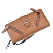 Barna női pénztárca cipzáros díszítéssel (0623.)