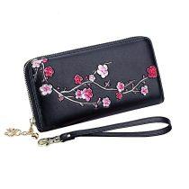 Fekete bőr pénztárca rózsaszín cseresznyevirág mintával (0312.)