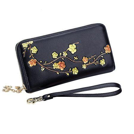 Fekete bőr pénztárca sárga virágmintával (0610.)