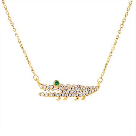 Arannyal bevont krokodil nyaklánc áttetsző CZ kristályokkal + AJÁNDÉK DÍSZDOBOZ (0741.)