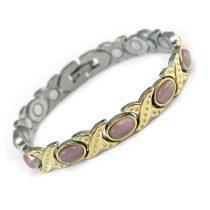 Női mágneses karlánc arany bevonattal, kék macskaszem opálokkal + AJÁNDÉK DÍSZDOBOZ (0525.)